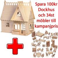 ! Kampanij - Dockhus Burspråk + 34st Möbler