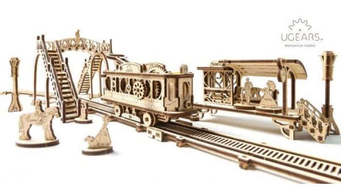 Spårvagn med station och räls
